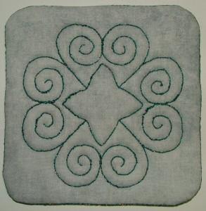 Coaster front with Razzle Dazzle thread
