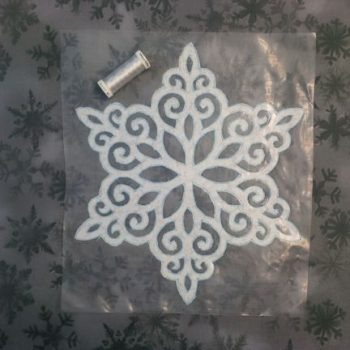 Layer applique snowflake on background