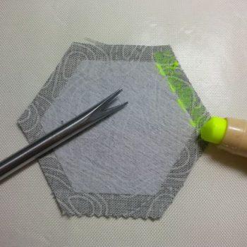 Glue applied to seam allowance